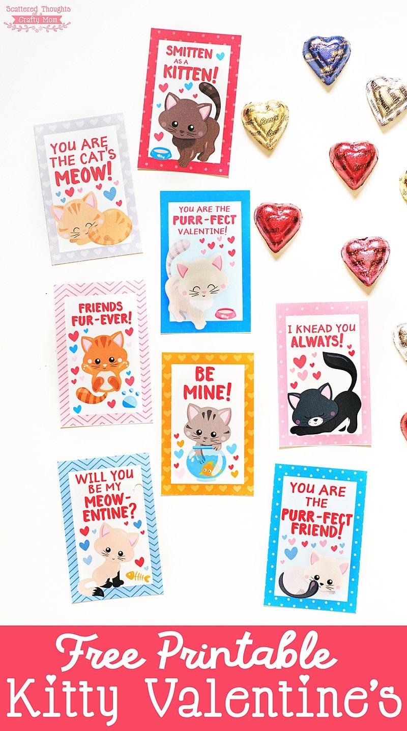 Free Printable Kitten Valentines - Scattered Thoughts Of A Crafty - Free Printable Cat Valentine Cards