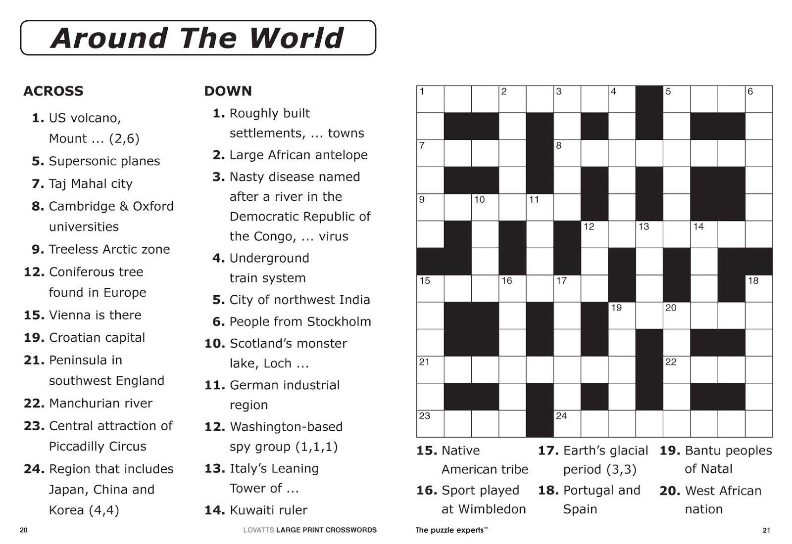 Free Printable Large Print Crossword Puzzles | M3U8 - Free Printable Sports Crossword Puzzles