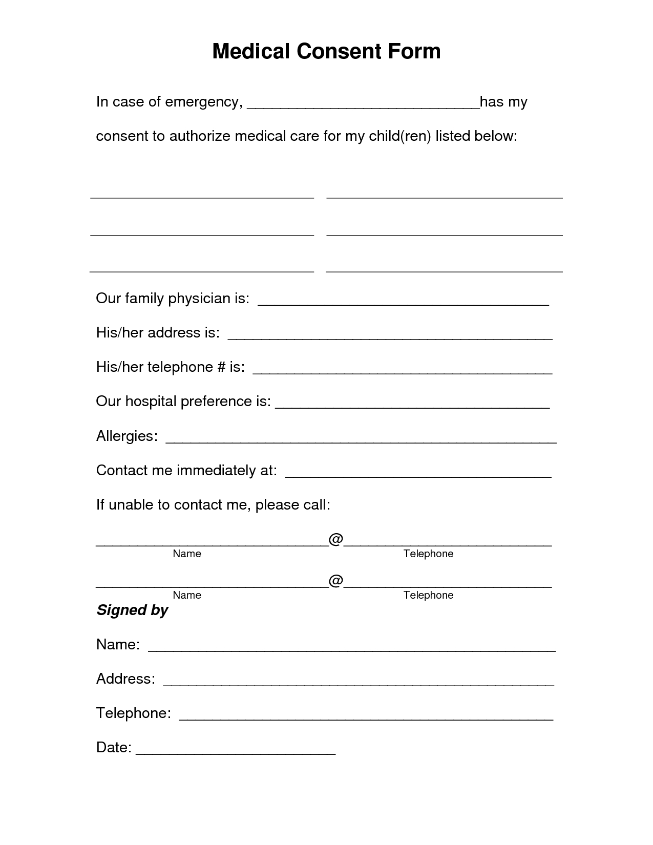 Free Printable Medical Consent Form   Free Medical Consent Form - Free Printable Medical Forms Kit