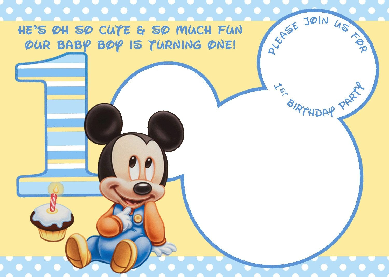Free Printable Mickey Mouse Invitations - Exclusive   Free - Free Printable Baby Mickey Mouse Birthday Invitations