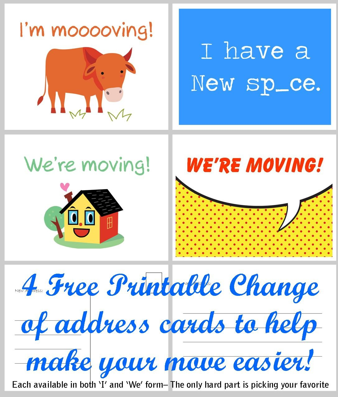 Free Printable Moving Announcement Change Of Address Card – Premier - Free Printable Change Of Address Cards
