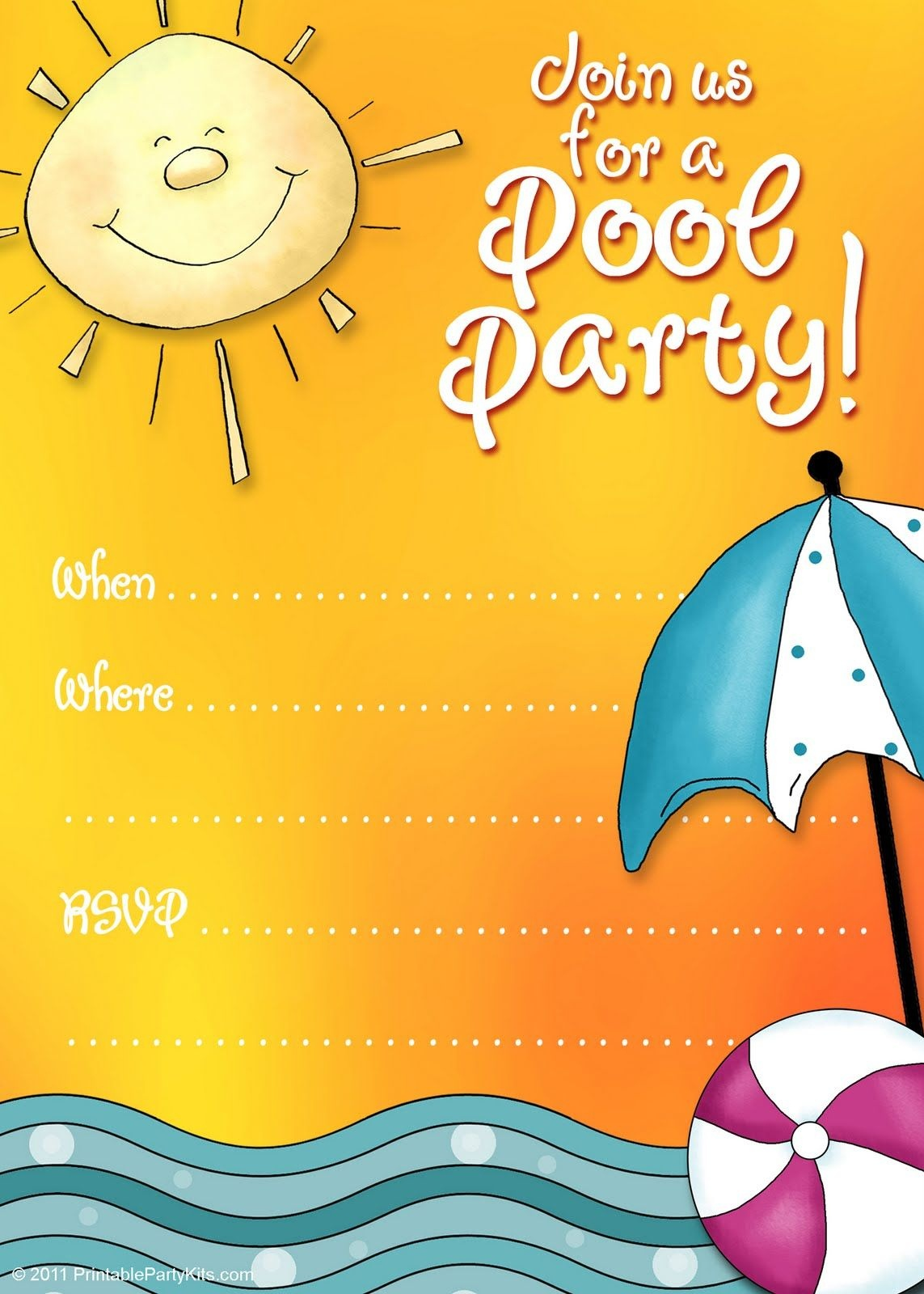 Free Printable Party Invitations: Summer Pool Party Invites   Adhd - Free Printable Pool Party Invitation Cards