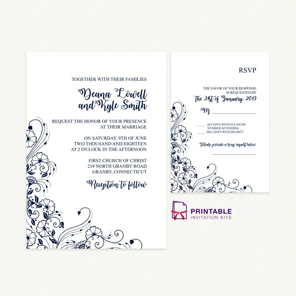 Free Printable Pdfs - Wedding Invitation And Rsvp With Decorative - Free Printable Rsvp