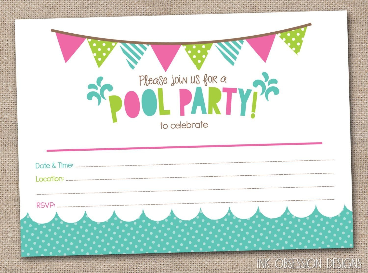 Free Printable Pool Party Birthday Invitations   Party Invitations - Free Printable Pool Party Invitation Cards