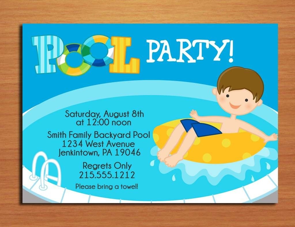 Free Printable Pool Party Invitations For Kids 5   Lily Birthday - Free Printable Pool Party Invitation Cards