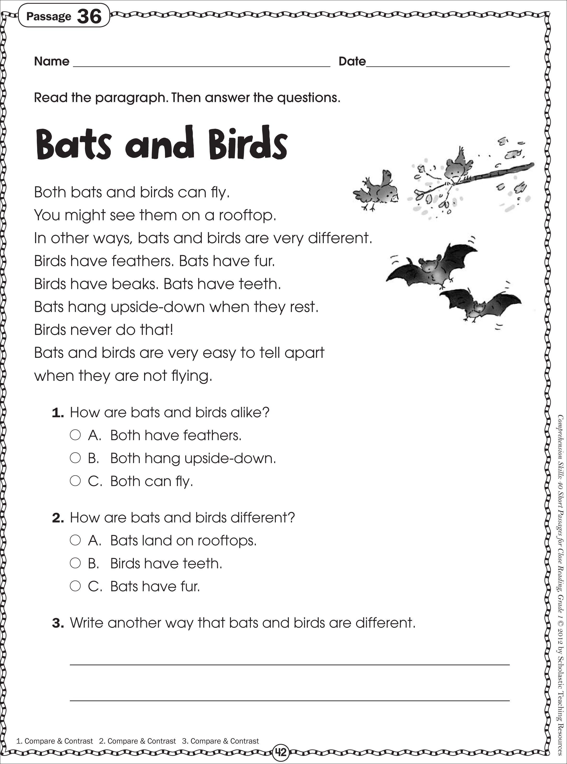 Free Printable Reading Comprehension Worksheets For Kindergarten - Free Printable Reading Comprehension Worksheets For 3Rd Grade