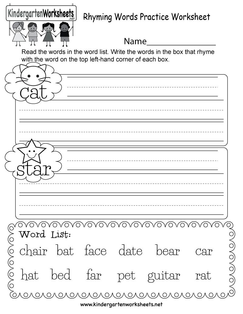 Free Printable Rhyming Words Practice Worksheet For Kindergarten - Free Printable Rhyming Words