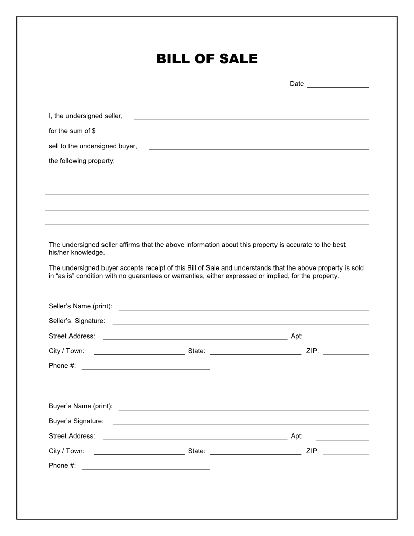 Free Printable Rv Bill Of Sale Form Form (Generic)   Sample - Free Printable Generic Bill Of Sale