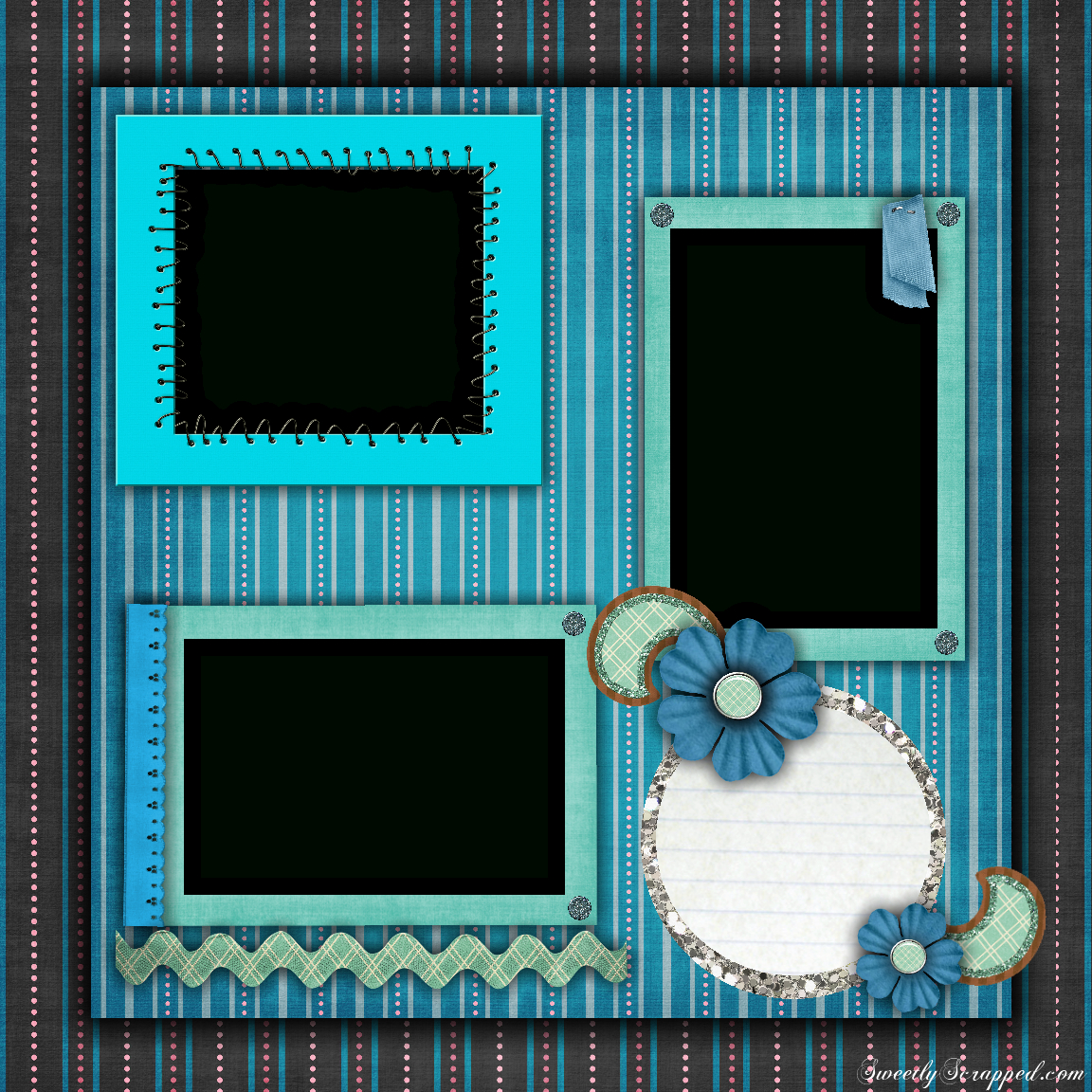 Free Printable Scrapbook Layouts   Blue And Stripes Layout File Size - Free Printable Scrapbook Templates