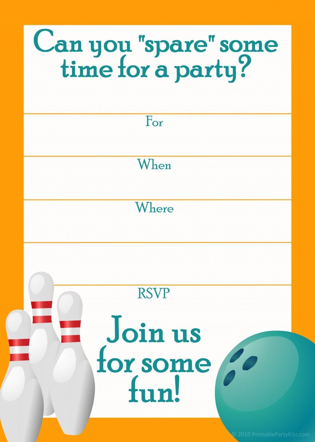 Free Printable Sports Birthday Party Invitations Templates   Dakota - Free Printable Bowling Birthday Party Invitations