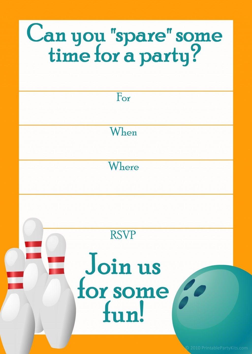 Free Printable Sports Birthday Party Invitations Templates   Dakota - Free Printable Bowling Invitation Templates