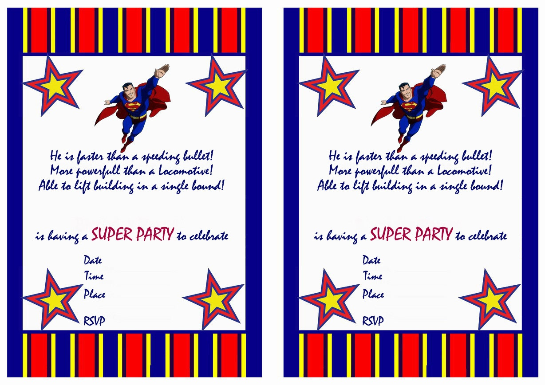 Free Printable Superman Birthday Invitations - Free Printable Superman Invitations