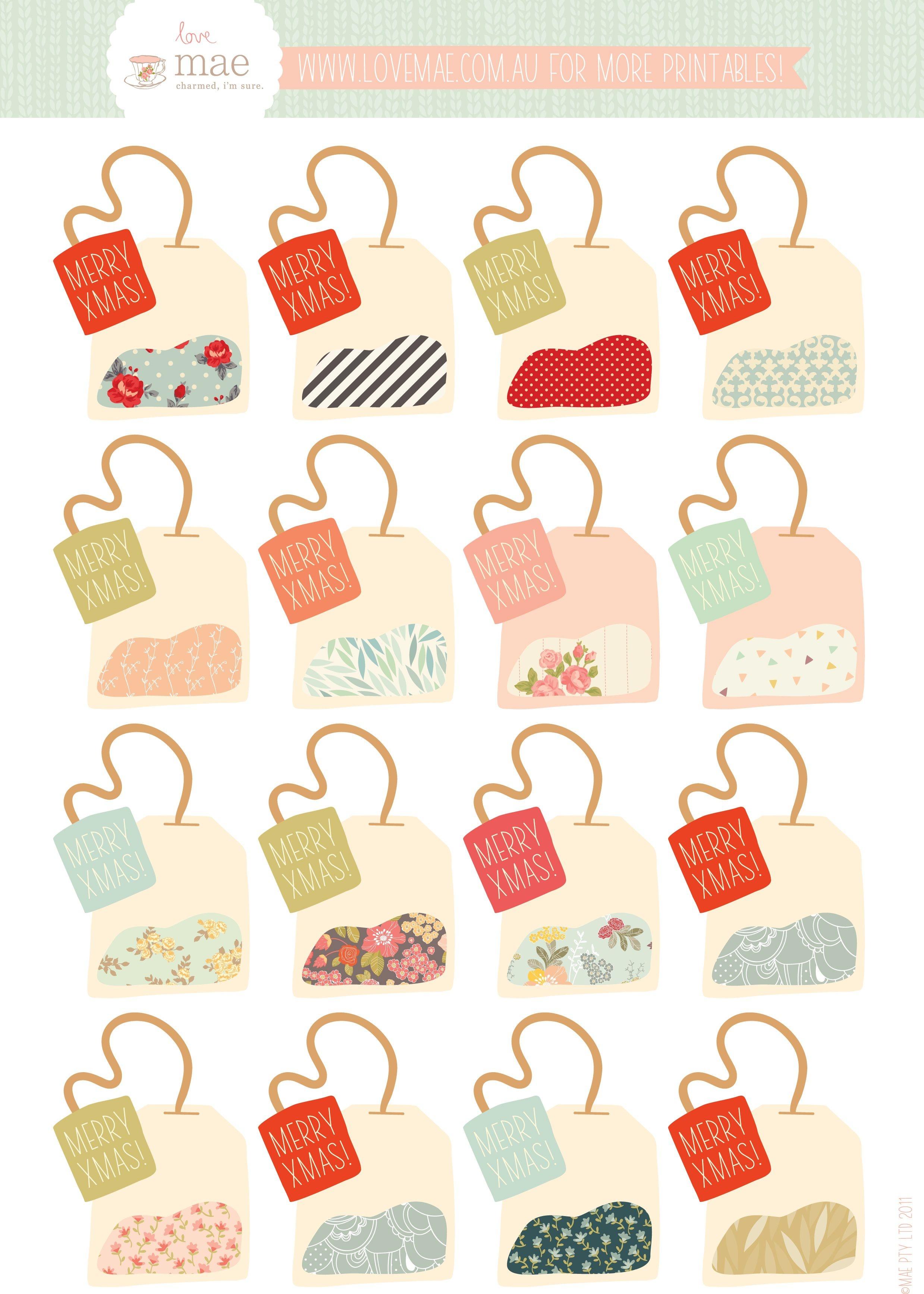 Free Printable Tea Bag Gift Tags (If Only It Didn't Say Xmas - Free Printable Goodie Bag Tags