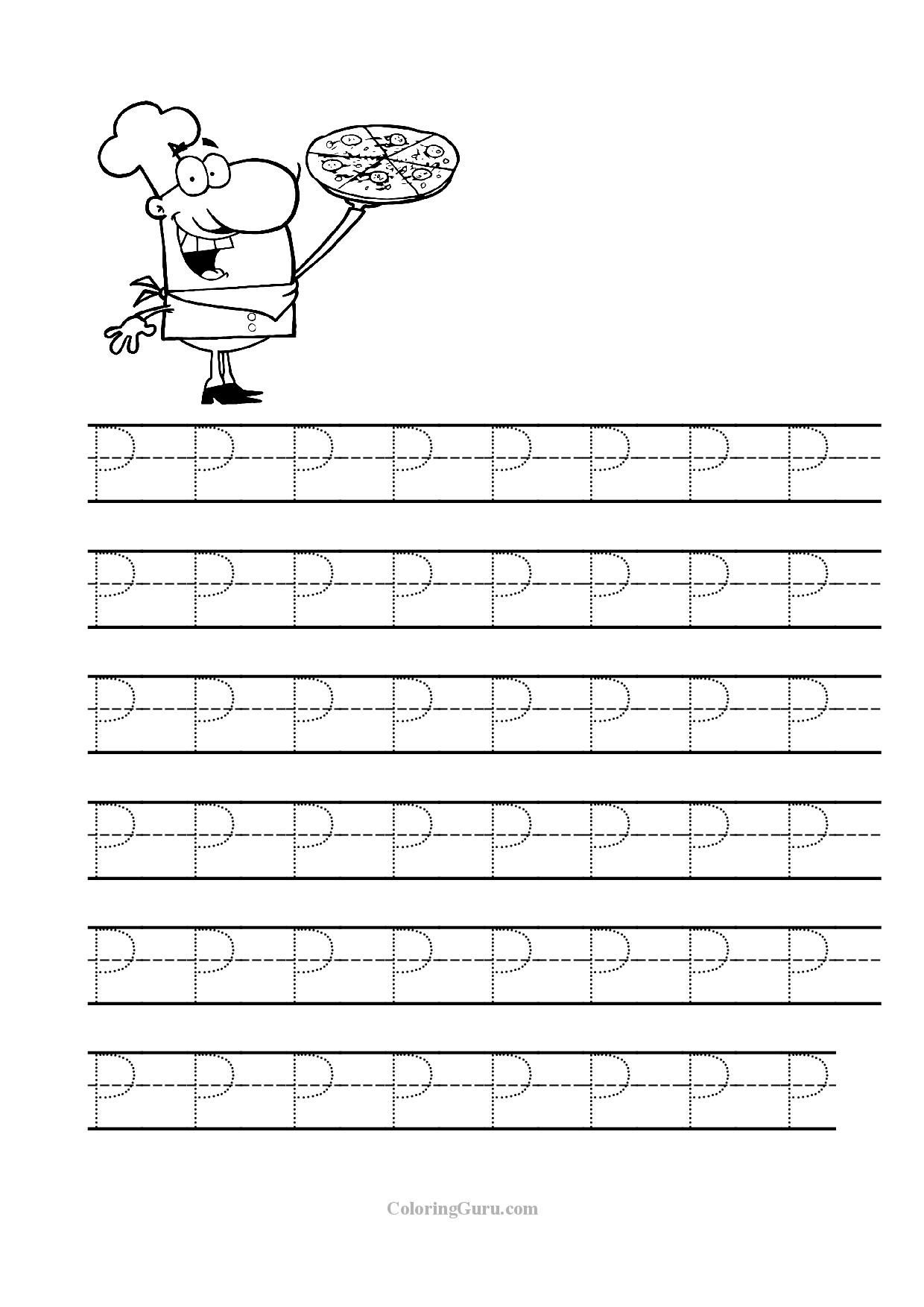 Free Printable Tracing Letter P Worksheets For Preschool   Tracing - Free Printable Preschool Worksheets Tracing Letters