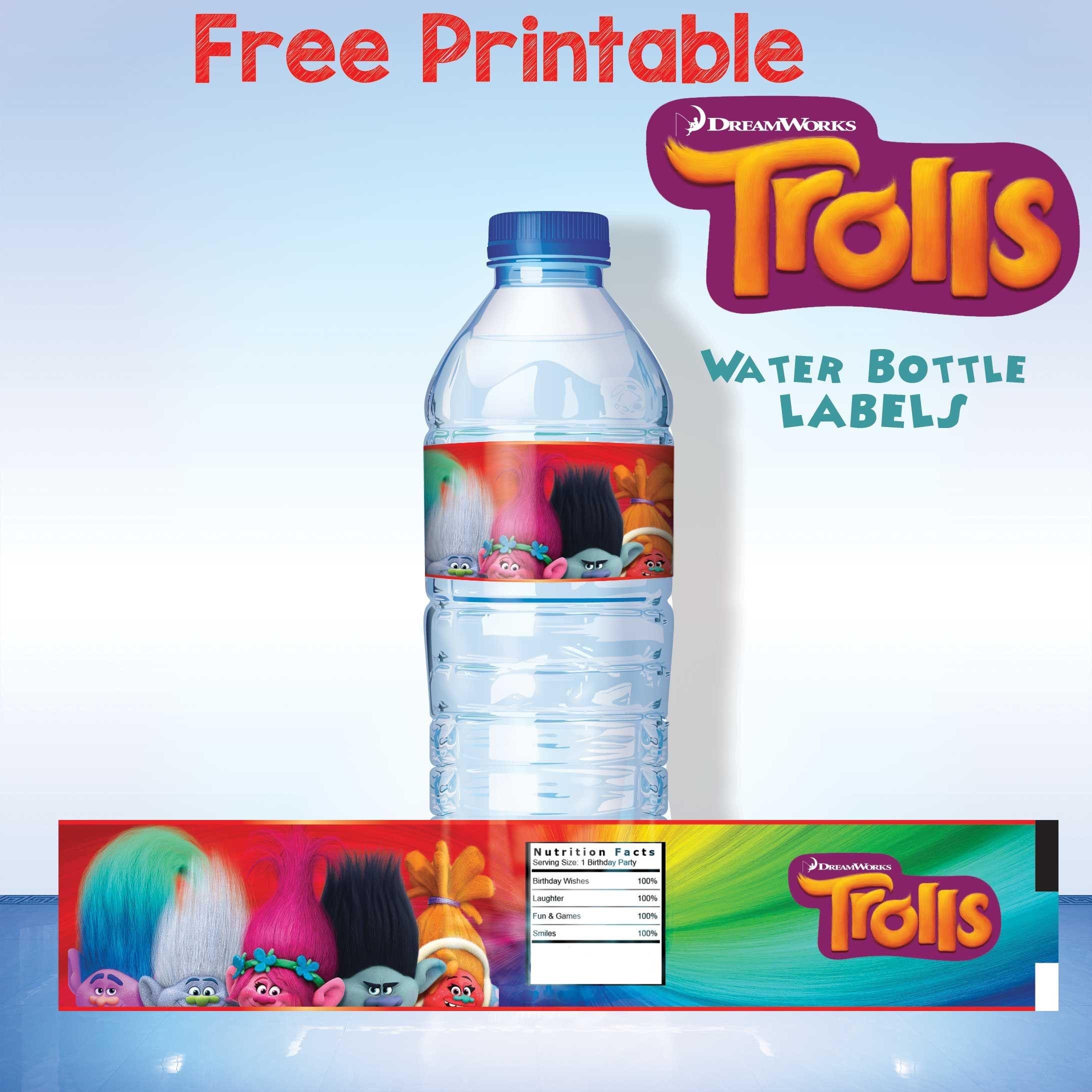 Free Printable Trolls Water Bottle Label   Trolls   Printable Water - Free Printable Water Bottle Labels For Birthday