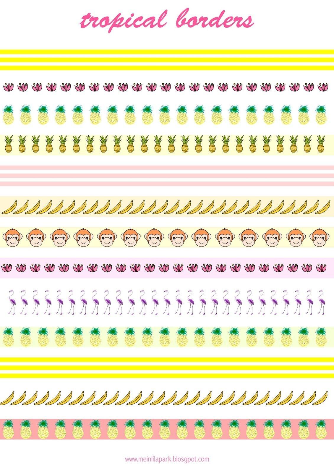 Free Printable Tropical Borders - Planner Stickers - Freebie - Free Printable Borders For Scrapbooking