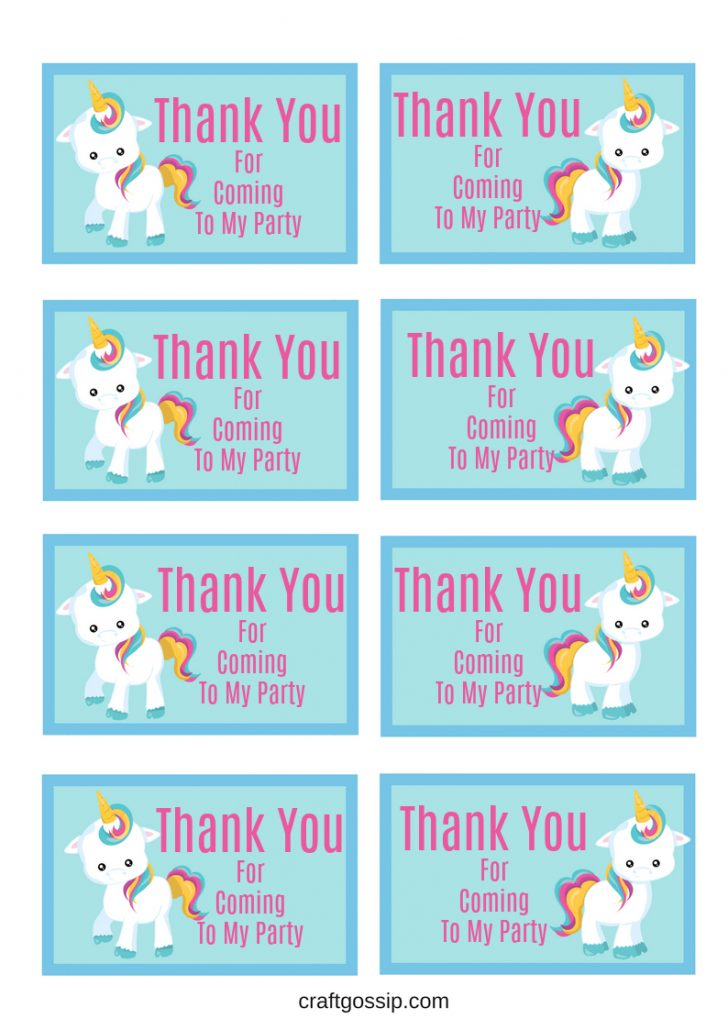 Free Printable Thank You Tags For Birthday Favors