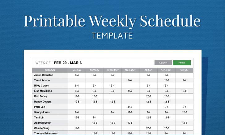 Free Printable Weekly Work Schedule