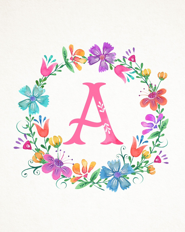 Free Printable Whimsical Watercolor Monograms   ~Monograms - Free Printable Flower Letters