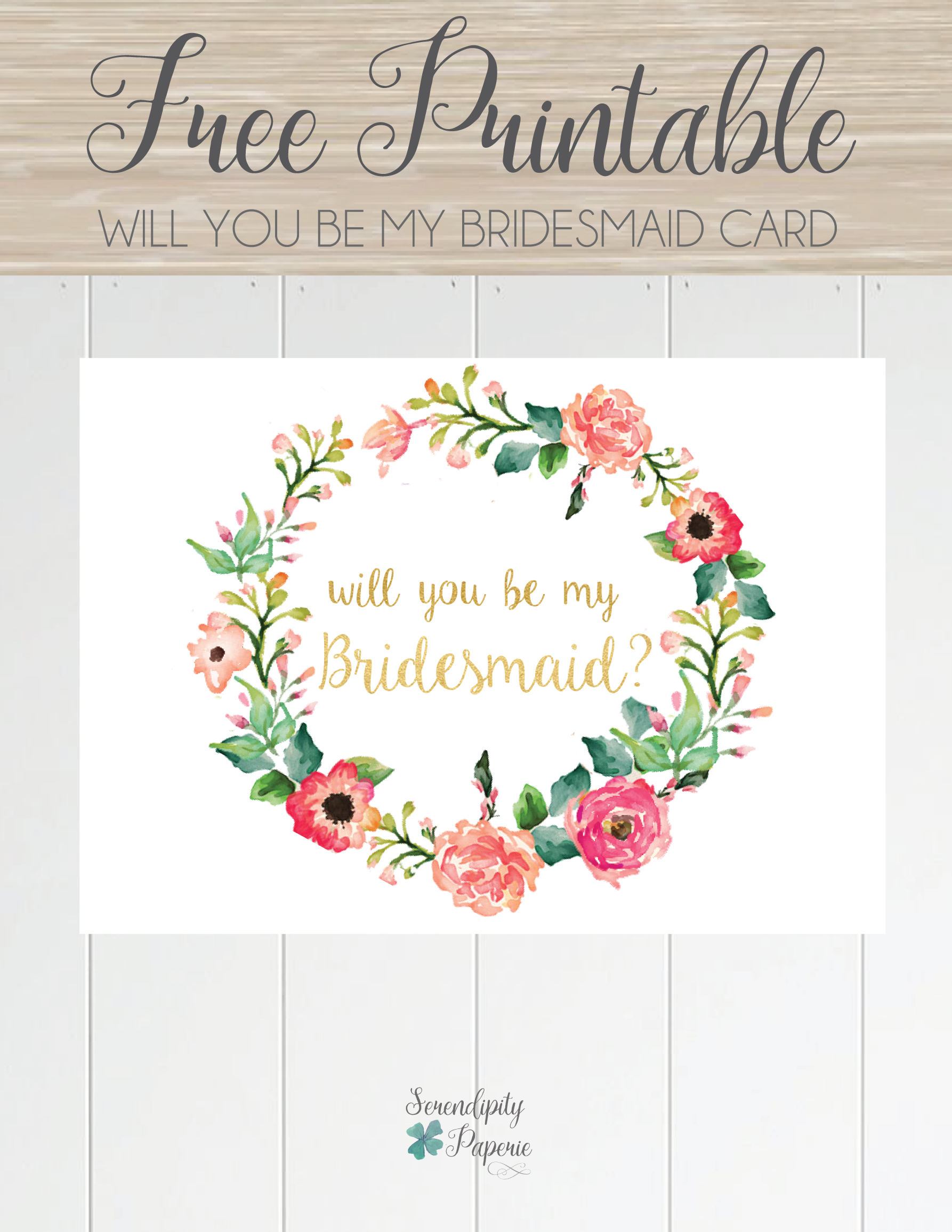 Free Printable Will You Be My Bridesmaid Card. Only At Serendipity - Will You Be My Godmother Printable Card Free