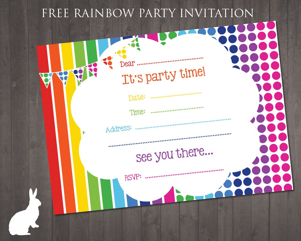 Free Rainbow Party Invitation | Free Party Invitationsruby And - Free Printable Birthday Invitation Cards