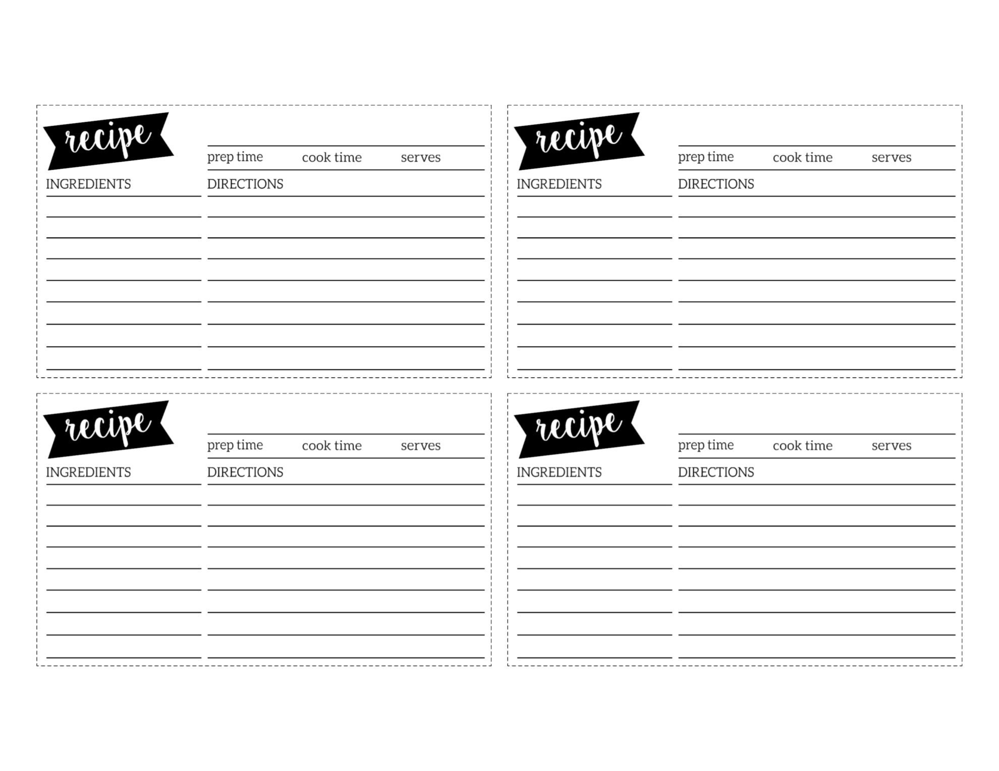 Free Recipe Card Template Printable - Paper Trail Design - Free Printable Recipe Templates