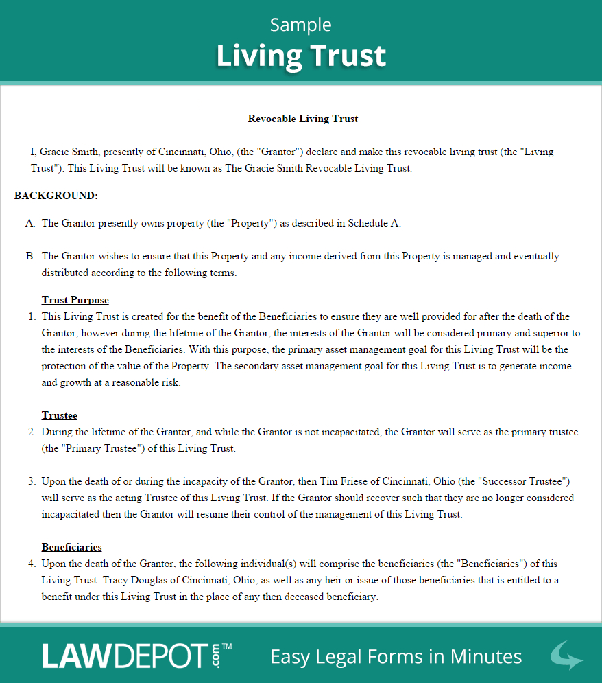 Free Revocable Living Trust - Create, Download, And Print | Lawdepot - Free Printable Will And Trust Forms