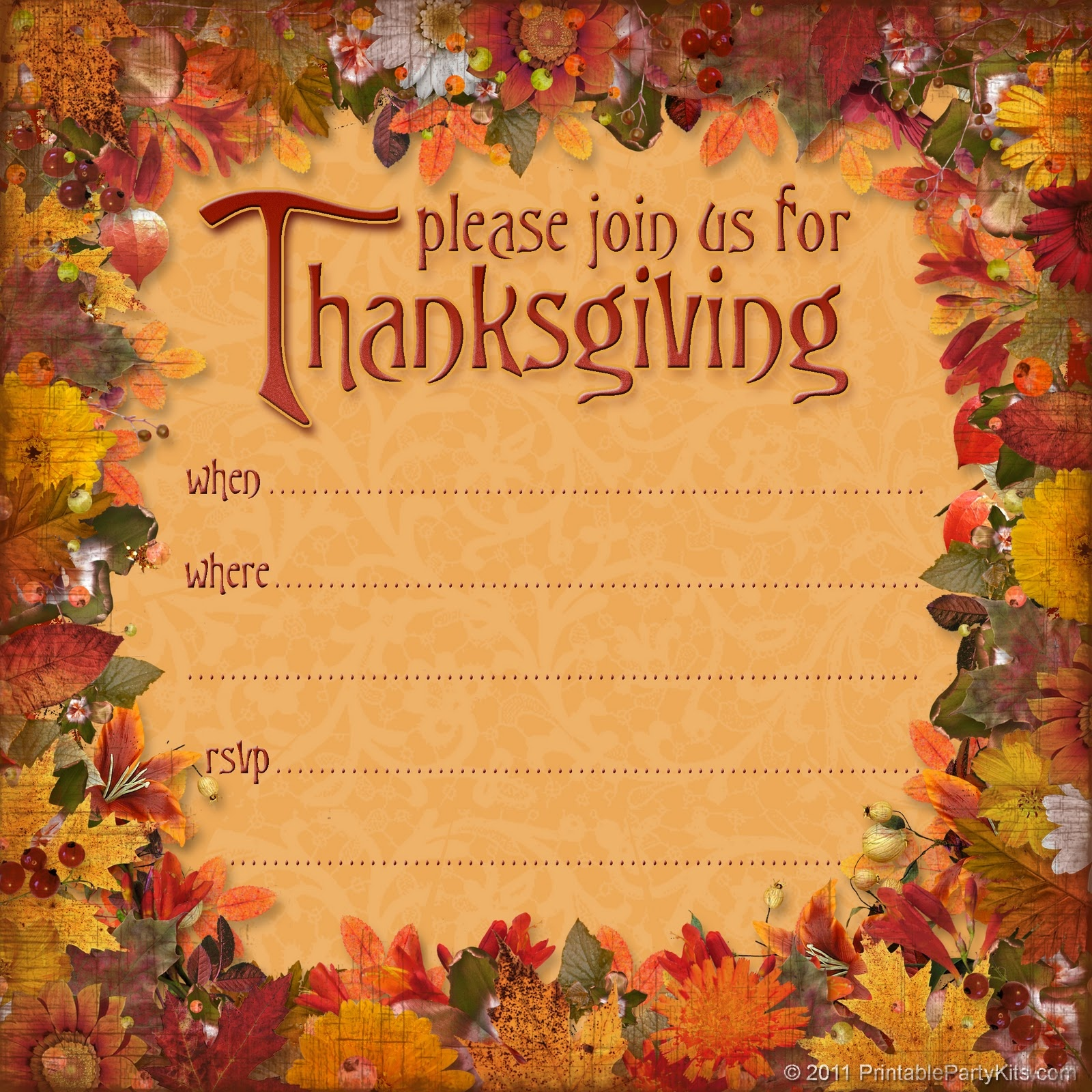 Free Thanksgiving Invitations Templates – Happy Easter - Free Printable Thanksgiving Invitation Templates