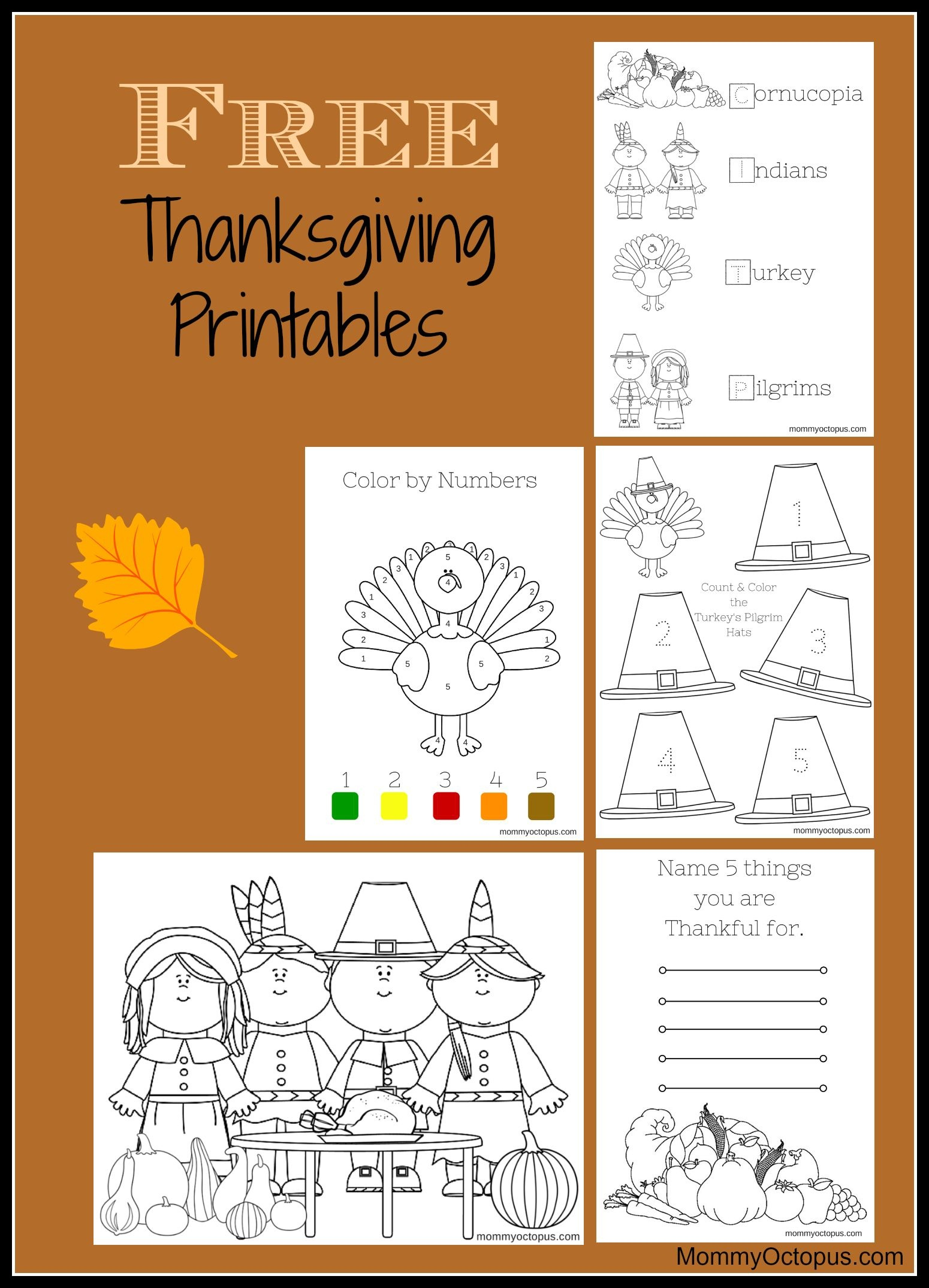Free Thanksgiving Printable Activity Sheets!   Thanksgiving & Fall - Free Printable Thanksgiving Activities For Preschoolers