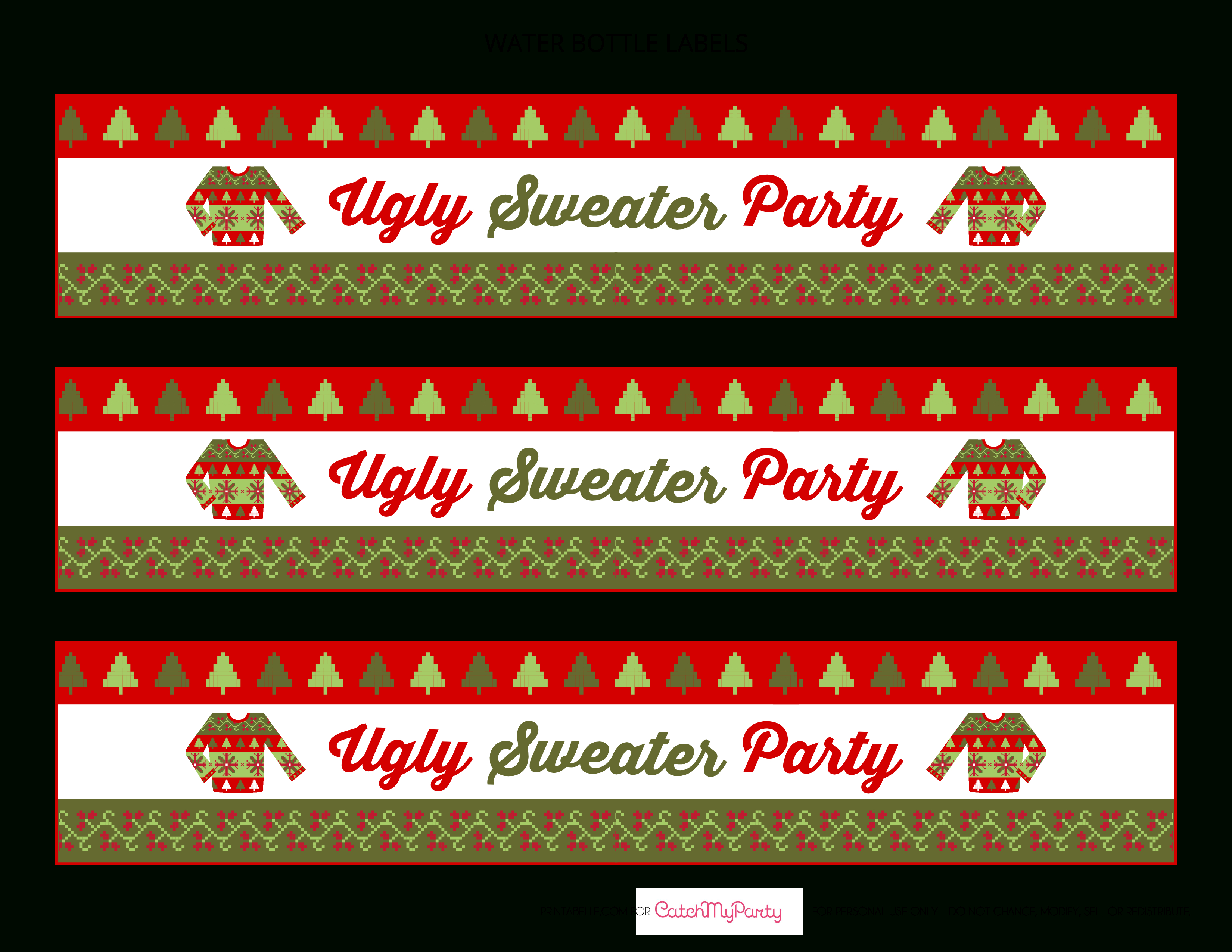 Free Ugly Sweater Party Printables | Catch My Party - Christmas Water Bottle Labels Free Printable