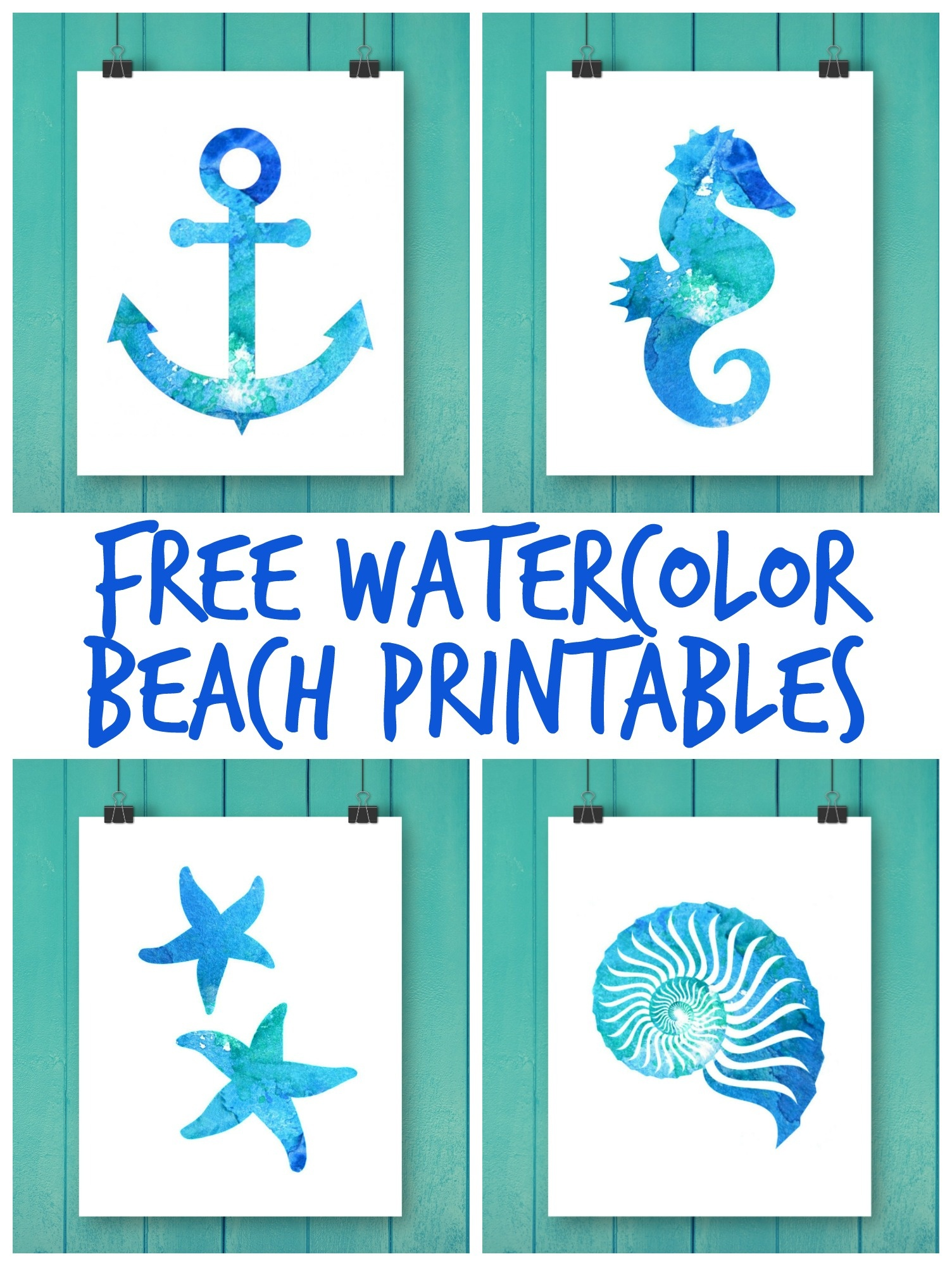 Free Watercolor Beach Printables - Free Printable Beach Pictures
