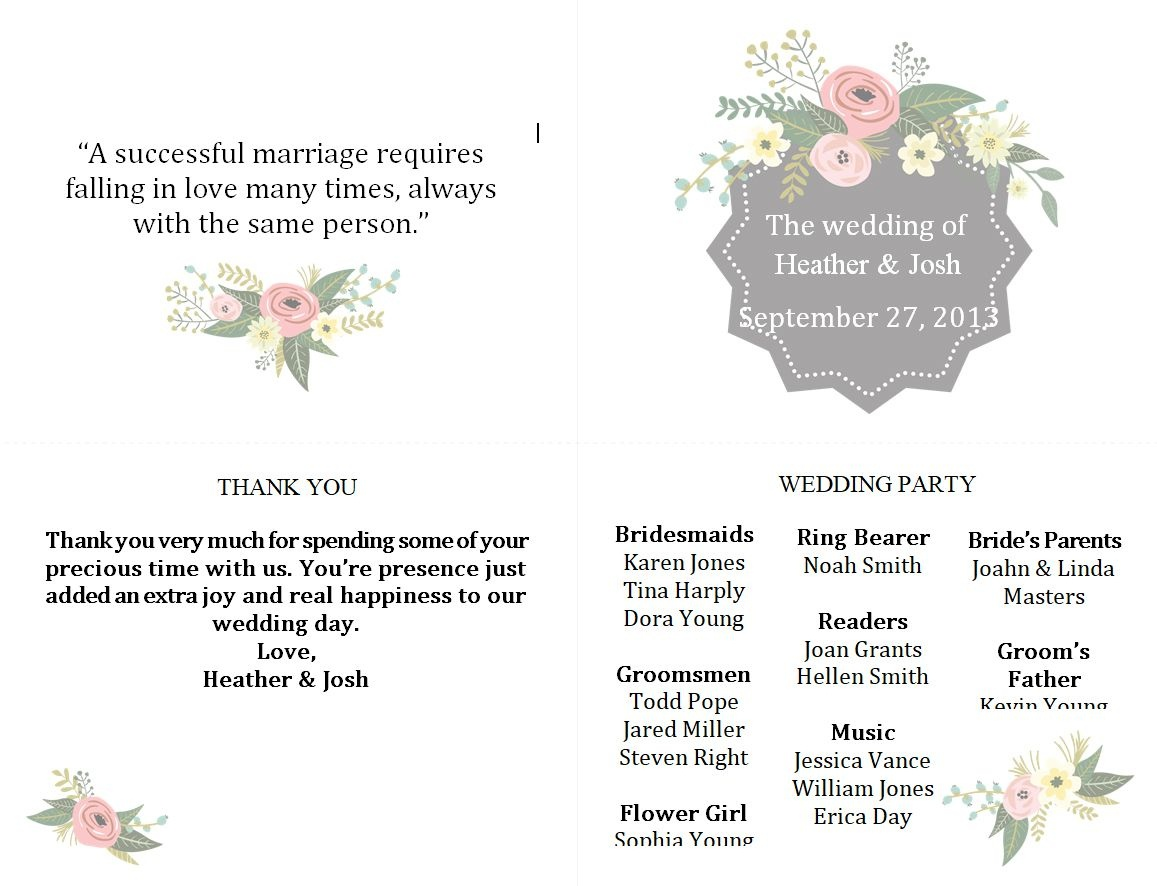 Free Wedding Program Templates You Can Customize - Free Printable Wedding Program Templates Word