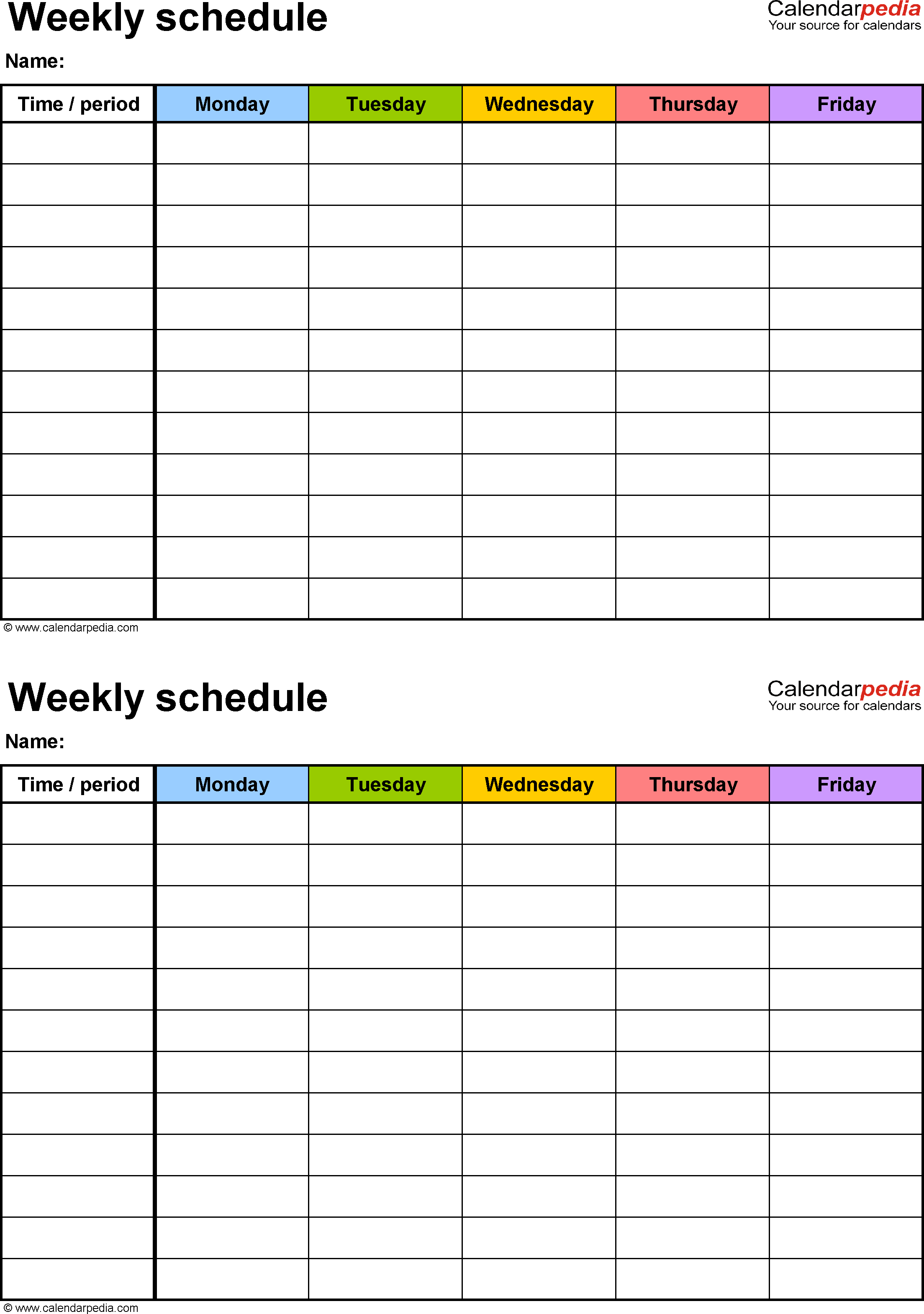 Free Weekly Schedule Templates For Pdf - 18 Templates - Free Printable Weekly Schedule