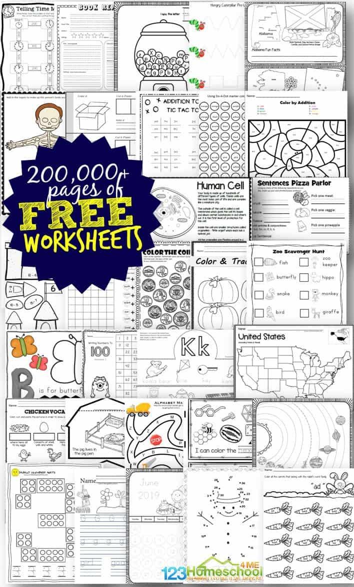 Free Worksheets - 200,000+ For Prek-6Th   123 Homeschool 4 Me - Free Printable Homework