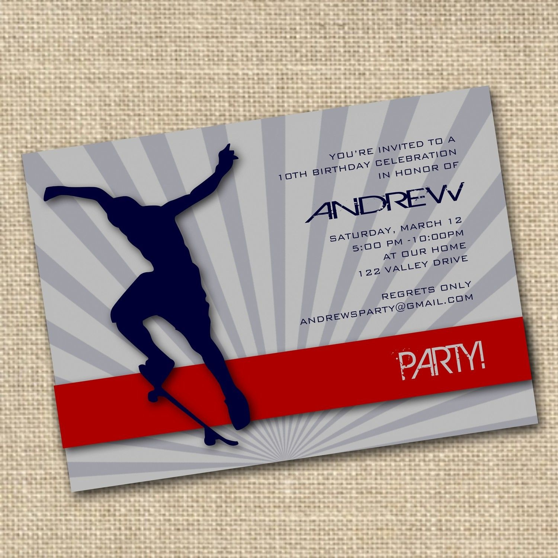 Free+Printable+Skateboard+Birthday+Party+Invitations | Birthday - Free Printable Skateboard Birthday Party Invitations