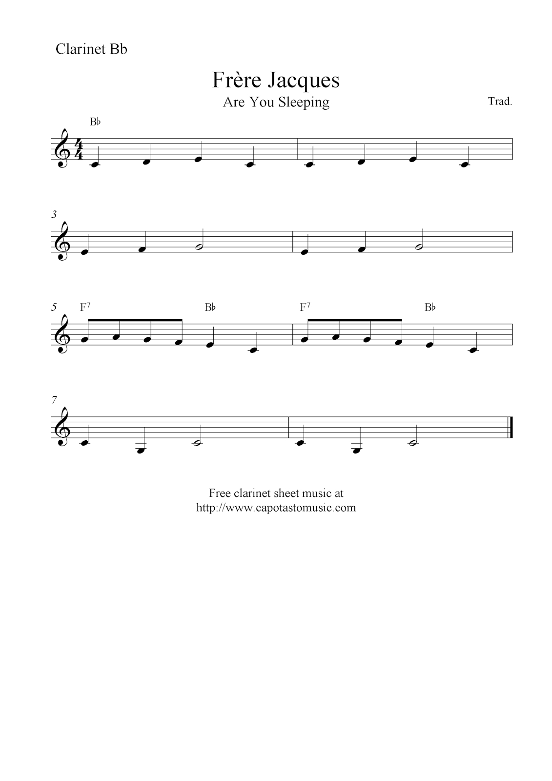 Frère Jacques (Are You Sleeping), Free Easy Clarinet Sheet Music Notes - Free Sheet Music For Clarinet Printable