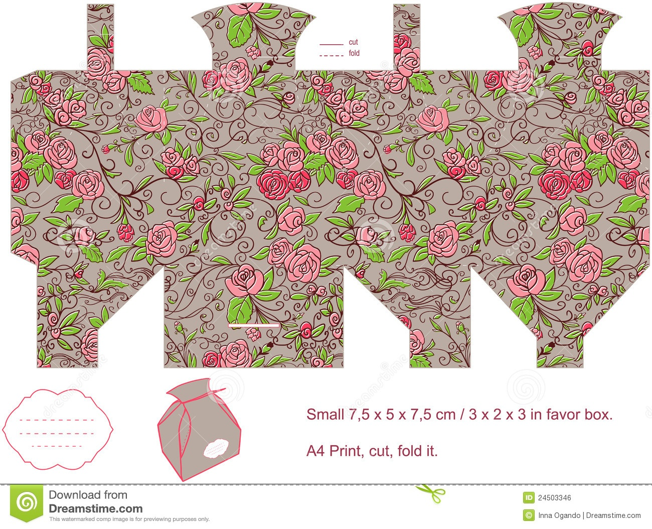 Gift Box Template Stock Vector. Illustration Of Floral - 24503346 - Gift Box Templates Free Printable