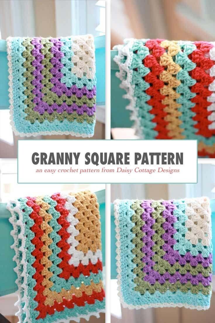 Granny Square Pattern - A Free Crochet Pattern - Free Printable Crochet Granny Square Patterns