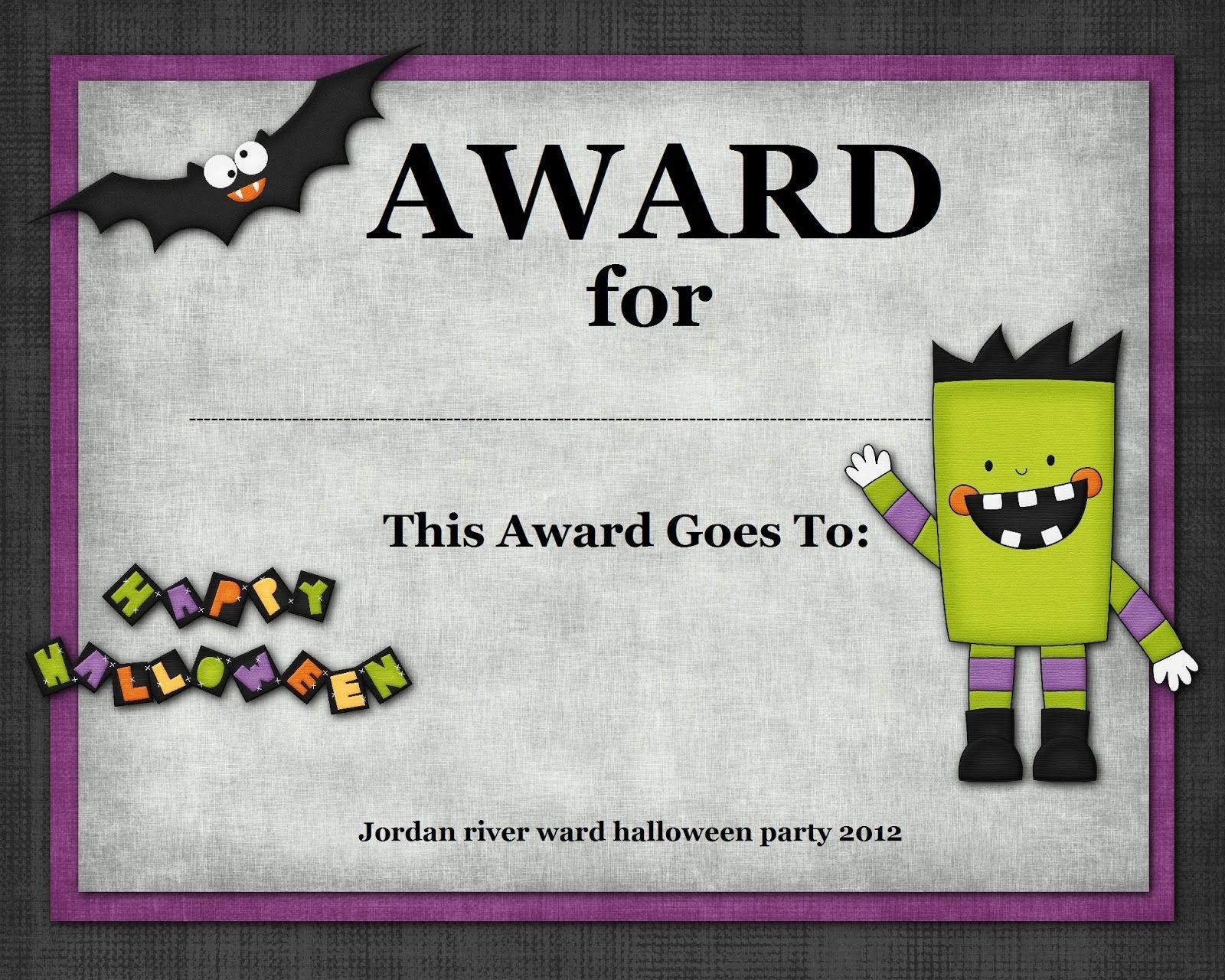 Halloween Costume Award   Halloween   Halloween Costumes, Halloween - Free Printable Halloween Award Certificates