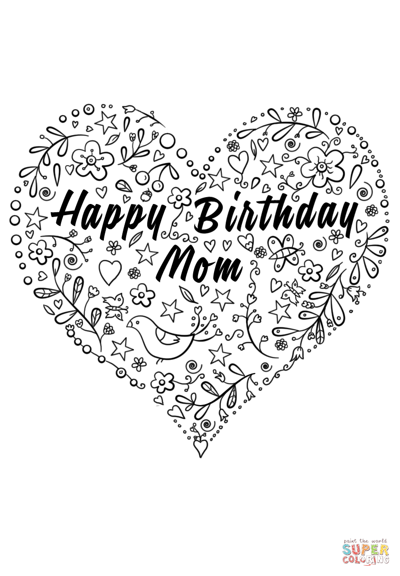 Happy Birthday Mom Coloring Page   Free Printable Coloring Pages - Free Printable Birthday Cards For Mom From Son
