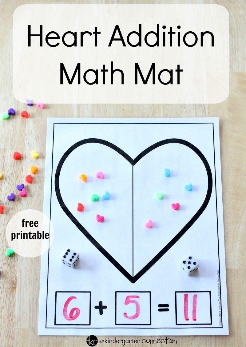 Heart Addition Math Mat | Kinderland Collaborative | Preschool Math - Free Printable Math Centers