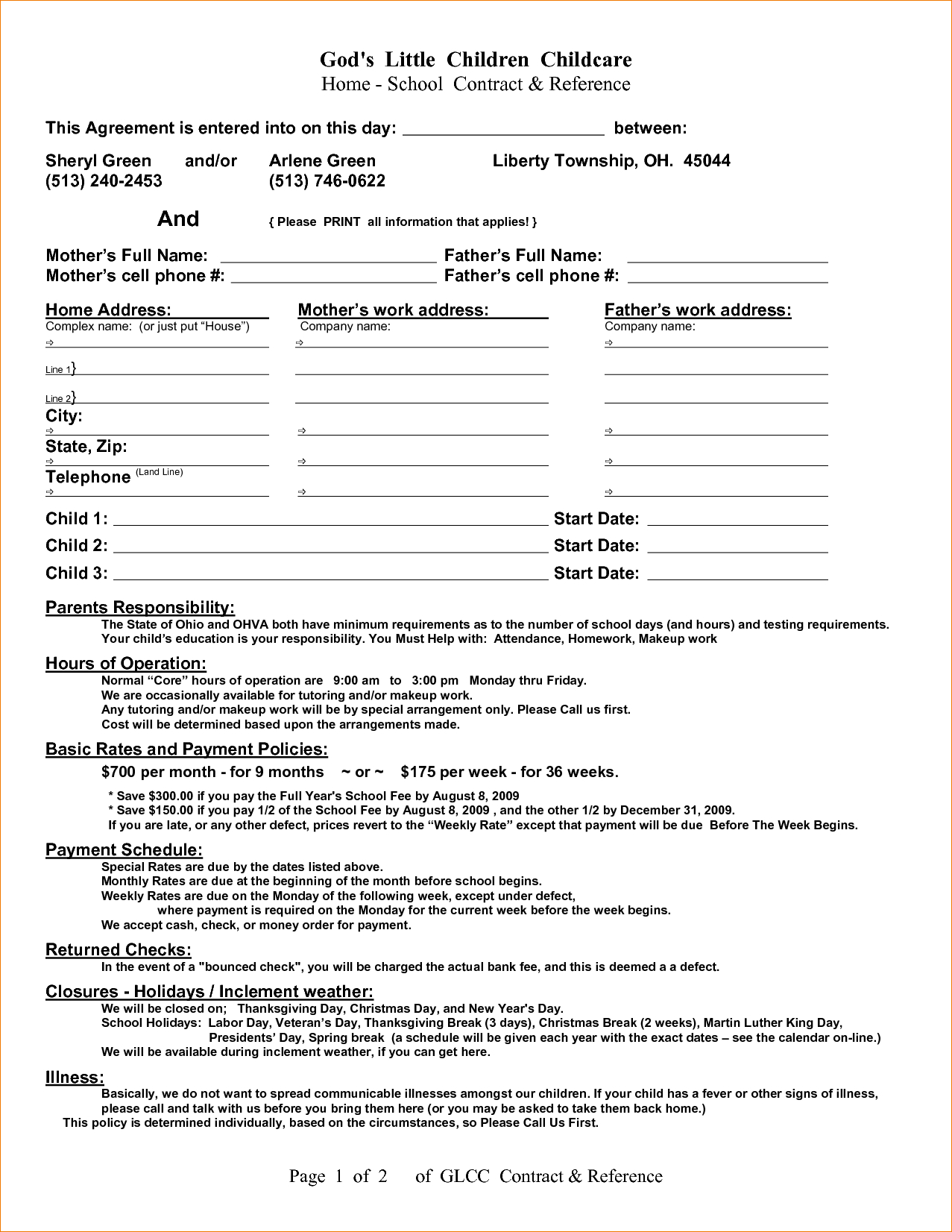 Home Daycare Contract Handbook | Childcare Ideas | Daycare Contract - Free Printable Daycare Forms For Parents