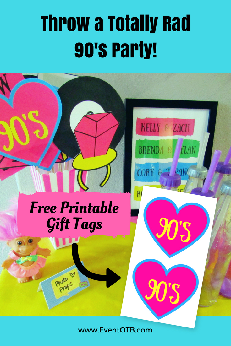 How To Throw A Rad 90's Theme Party | Eventotb | 90S Theme Party - Printable 90S Props Free