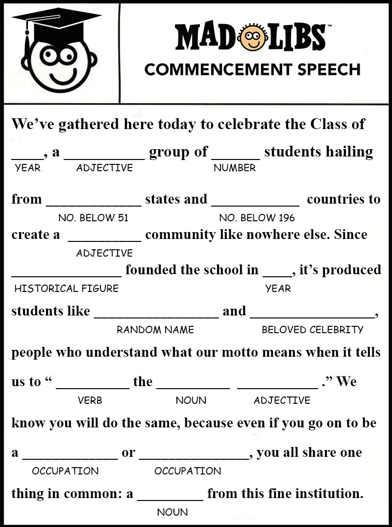 Image Result For Free Printable Graduation Mad Libs | Gatsby - Free Printable Graduation Party Games