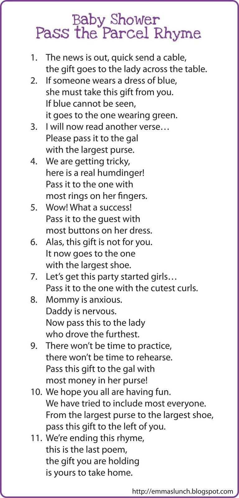 Interesting Game?? Baby Shower Pass The Parcel Rhyme   Fight For - Pass The Prize Baby Shower Game Free Printable