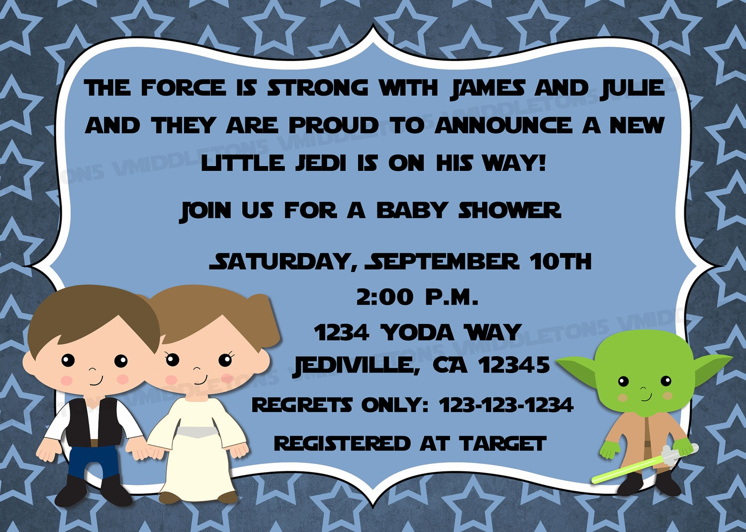 Jedi Star Wars Theme Inspired Baby Shower Invitation With   Etsy - Free Printable Star Wars Baby Shower Invites