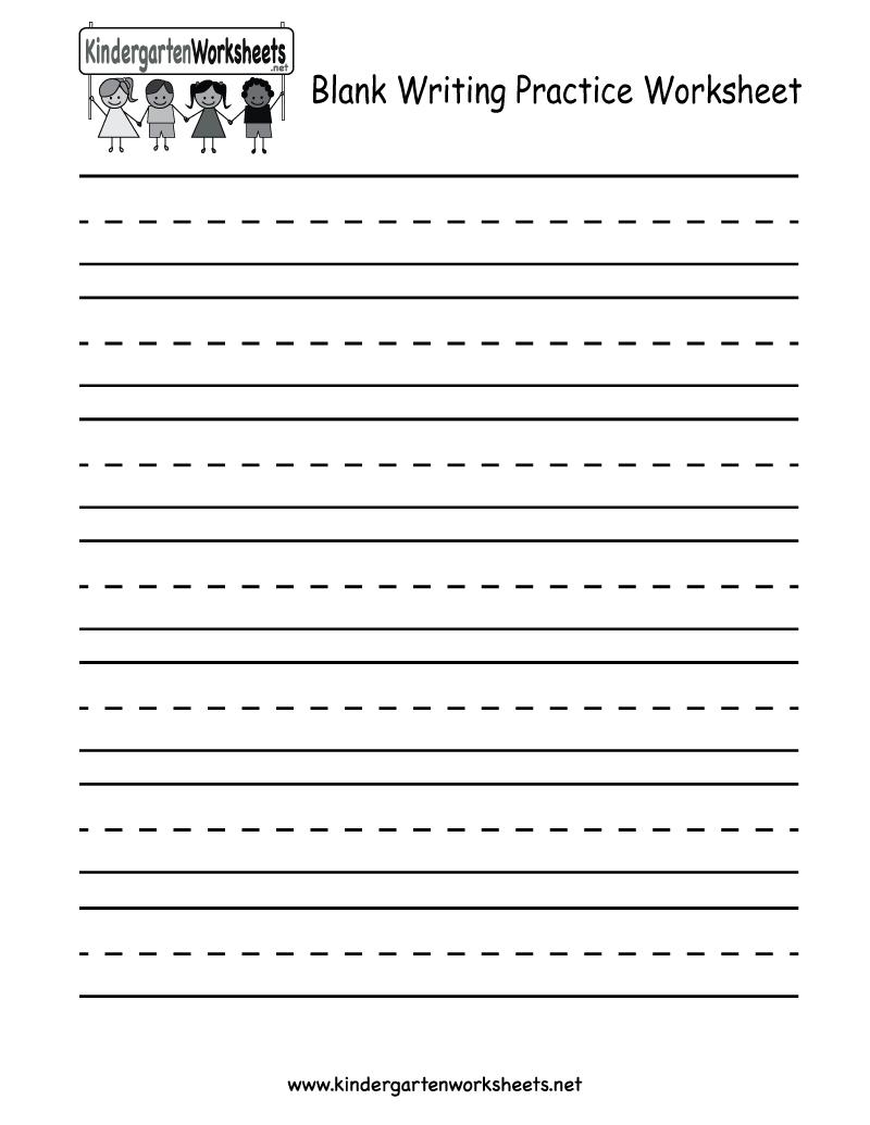 Kindergarten Blank Writing Practice Worksheet Printable   Writing - Blank Handwriting Worksheets Printable Free