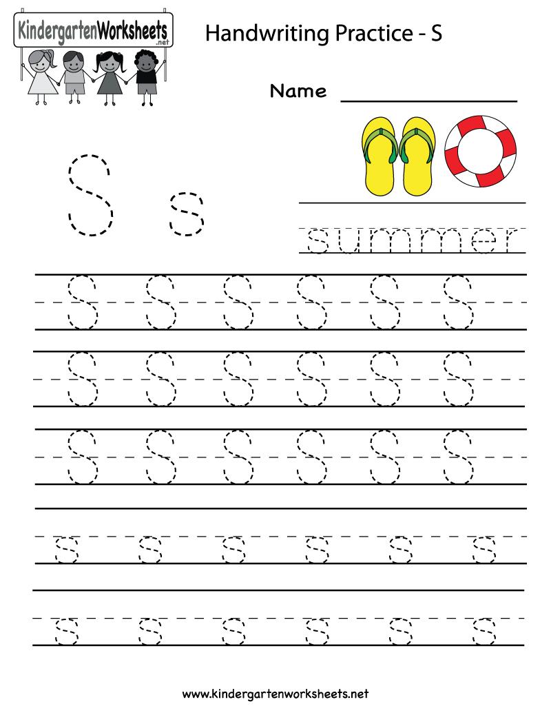 Kindergarten Letter S Writing Practice Worksheet Printable | G - Free Printable Worksheets Handwriting Practice