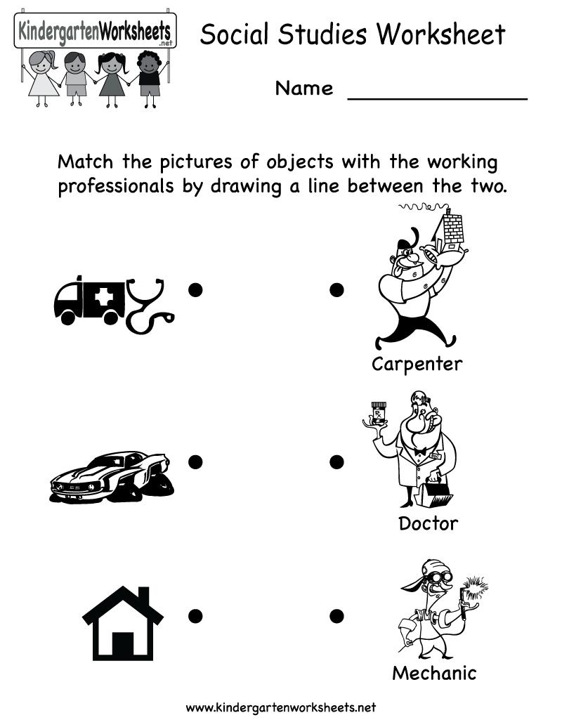Kindergarten Social Studies Worksheet Printable   Worksheets (Legacy - Social Studies Worksheets First Grade Free Printable