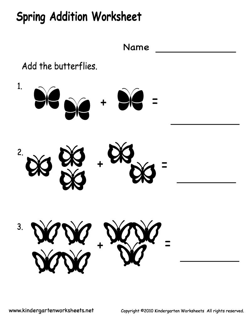 Kindergarten Spring Addition Worksheet Printable   Spring Worksheets - Free Printable Spring Worksheets For Kindergarten